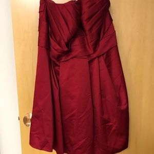 Apple red strapless dress with pockets!!